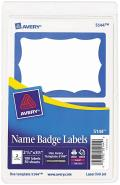 Avery® Printable Self-Adhesive Name Tag Badges, 2-11/32 x 3-3/8, Blue Border, 100/Pack