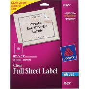 Avery® 08665, Clear Easy Peel Mailing Labels, Inkjet, 8 1/2 x 11, 25/Pack